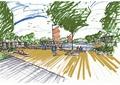 有步道,树池,常绿乔木,地面铺装,坐凳