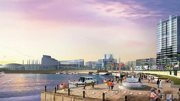 滨水景观,喷泉水景,栏杆,商业环境