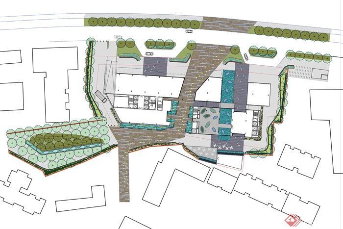 滨水景观,住宅景观-校园环境木板铺装-设计师图库
