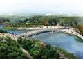 河流景观,园桥,道路,乔木植物,路灯