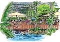 花架,餐桌椅,遮阳伞,栏杆,水景,生态农庄