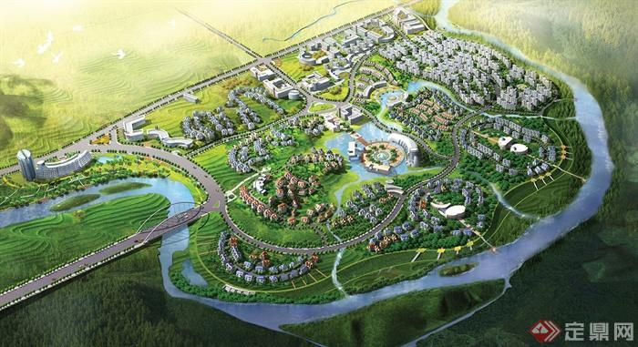 城市规划,河流景观,乔灌木,建筑,道路