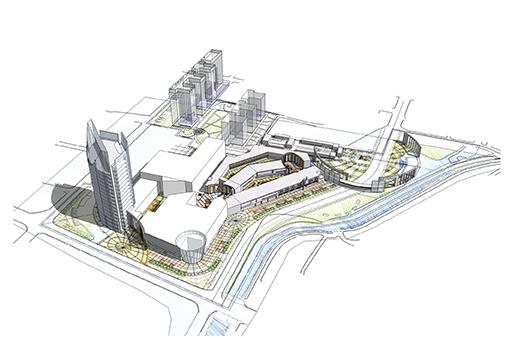 城市景观规划设计图-酒店建筑道路-设计师图库
