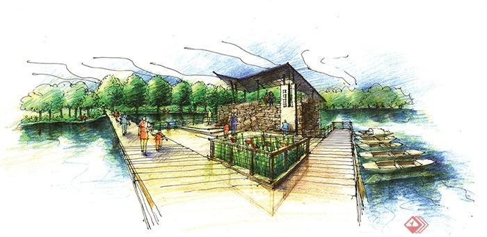 滨水景观,河道景观设计-栈道凉亭栏杆船只-设计师图库