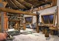 住宅空间,窗子,木桌椅,地面铺装,天花吊顶,装饰摆件