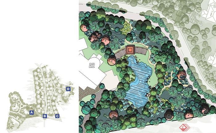 组团植物,小区景观,亭廊,水池