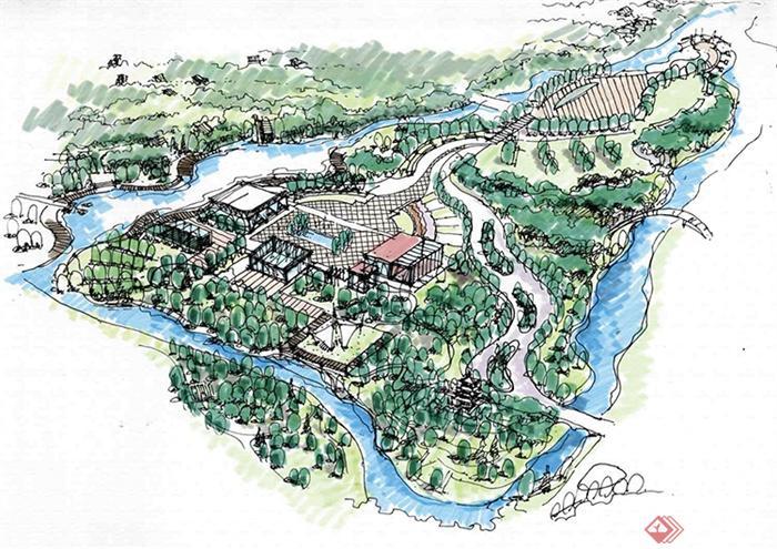 直线园路园林手绘平面图
