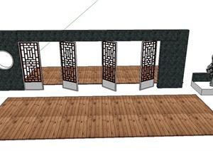 园林景观节点景墙与置石设计SU(草图大师)模型