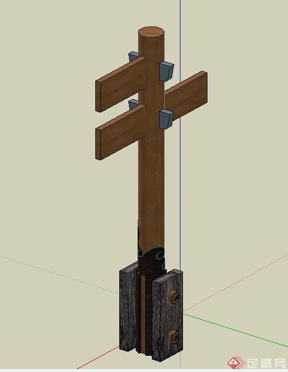 园林景观节点木质指路牌设计su模型(2)