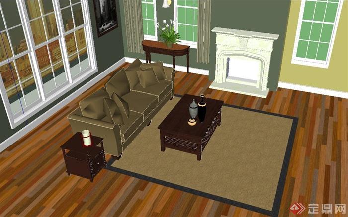 某欧式田园风格客厅沙发套装设计su模型