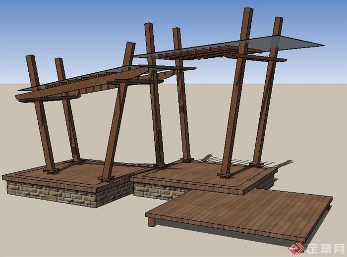 现代木平台及玻璃木亭su模型