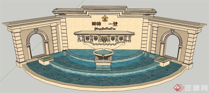 欧式喷泉跌水景墙设计su模型