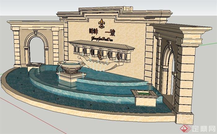 欧式喷泉跌水景墙设计su模型(2)图片