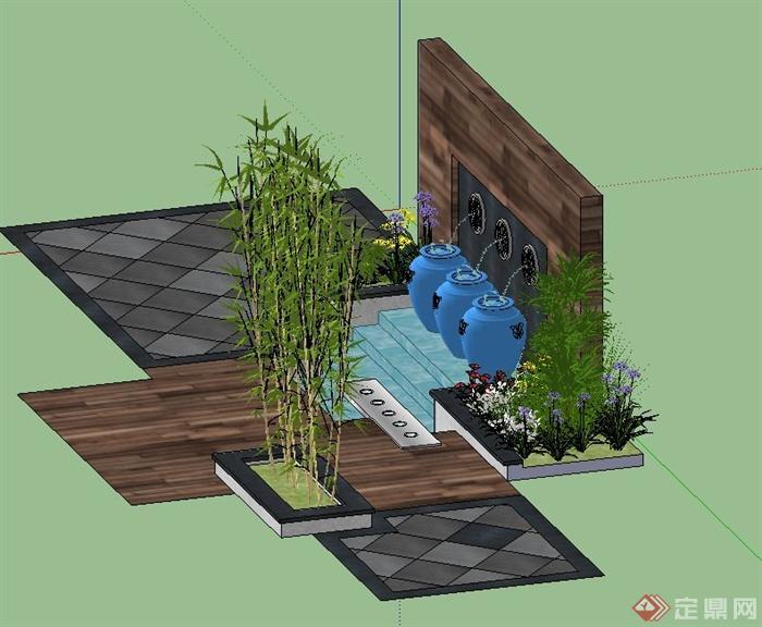 园林景观节点景墙跌水设计su模型(3)