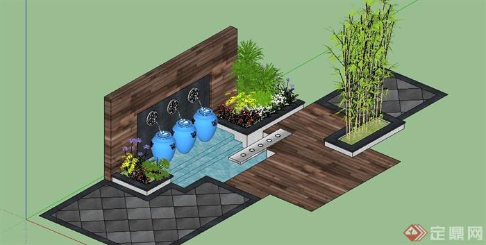 园林景观节点景墙跌水设计su模型(2)