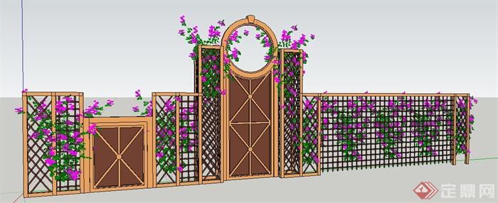 现代风格木制花架墙设计su模型