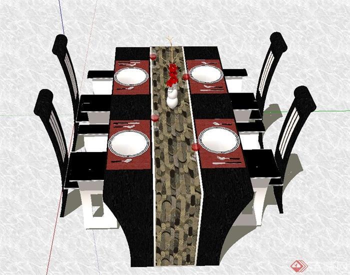 某欧式风格长方形四人餐桌椅设计su模型