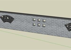 某现代中式围墙设计su(草图大师)模型图片