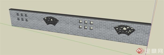 某现代中式围墙设计su模型(1)