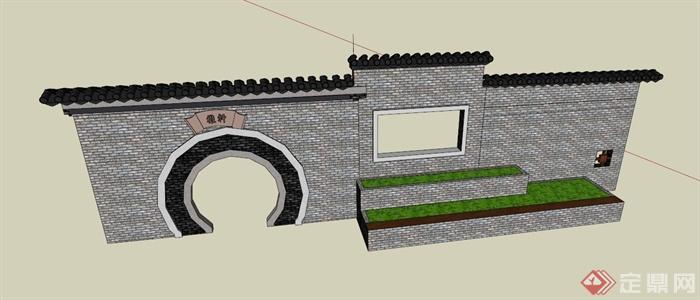 中式拱门景墙围墙设计su模型
