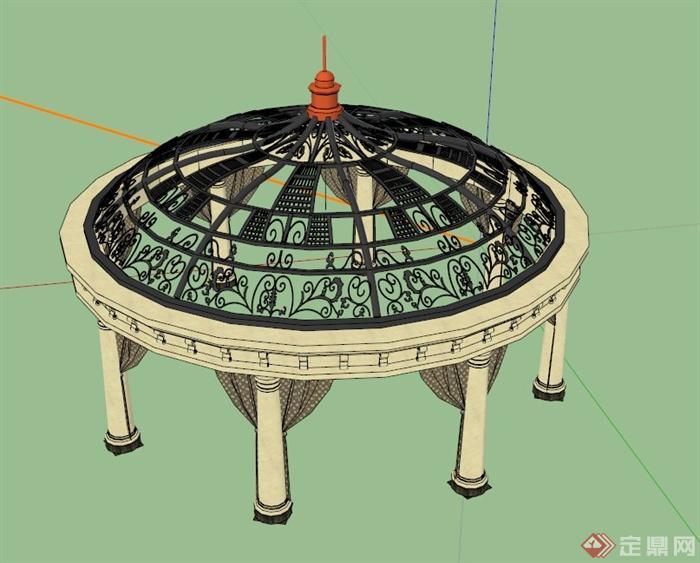 欧式铁艺亭设计su模型
