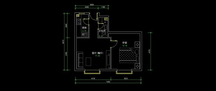 一室一厅室内设计平面图