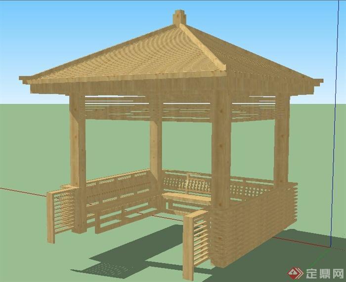中式木制四角凉亭设计su模型图片