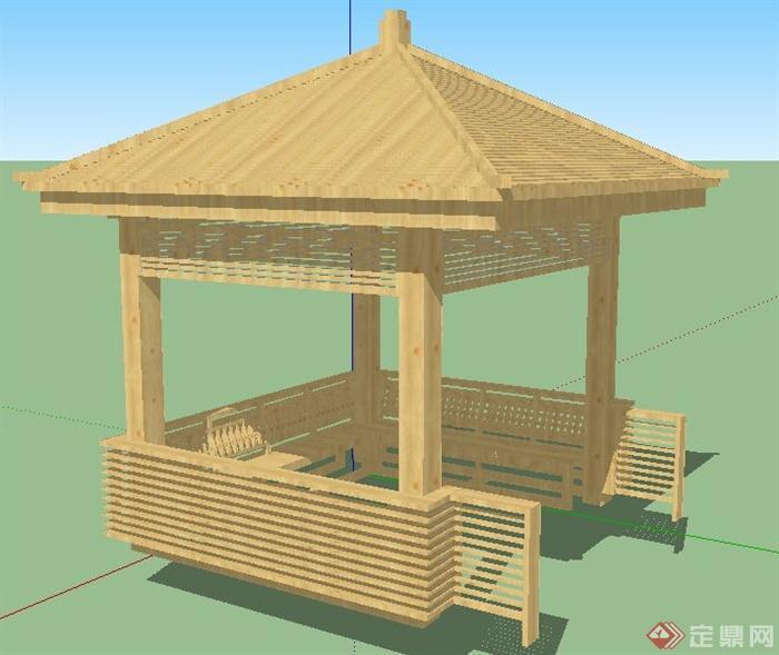 中式木制四角凉亭设计su模型