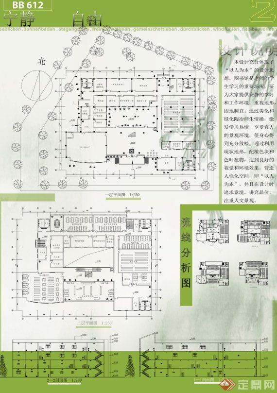 图书馆建筑设计展板方案(带cad)[原创]