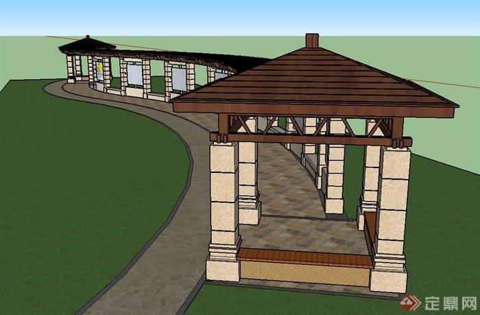 园林景观节点文化长廊设计su模型[原创]