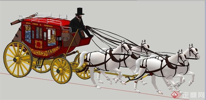 一辆欧式皇家马车su模型