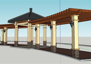 新古典风格弧形亭廊组合SU(草图大师)模型