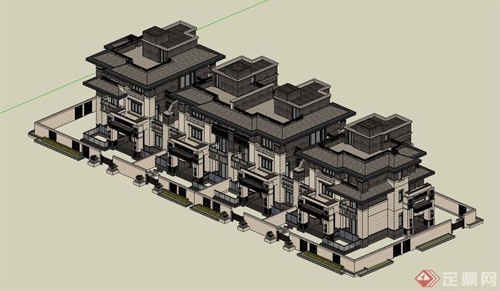 某三层欧式风格联排别墅建筑设计su模型(2)