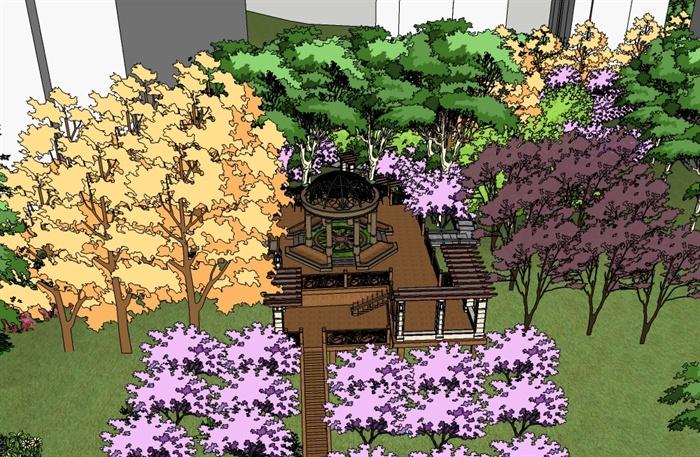 某住宅区山地欧式景观亭廊架休息平台设计su模型