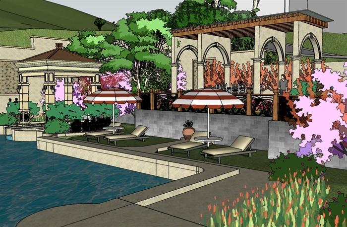 欧式风格山地庭院景观设计su模型