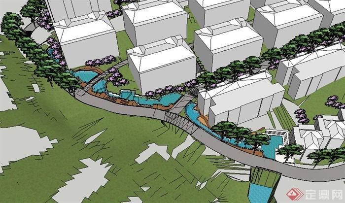 某小区景观水系设计su模型(3)