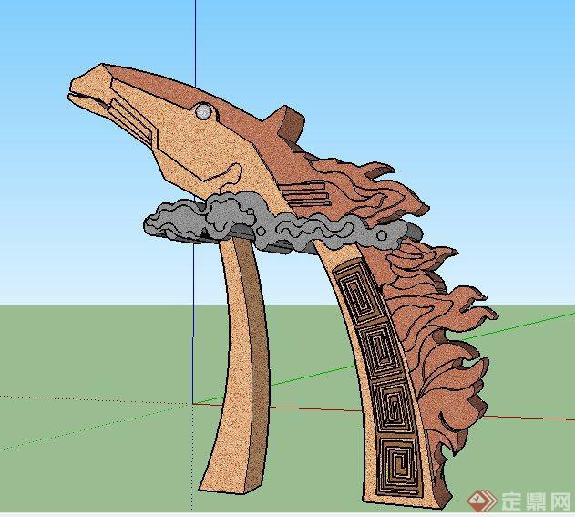 蒙古马头景观小品雕塑su模型[原创]