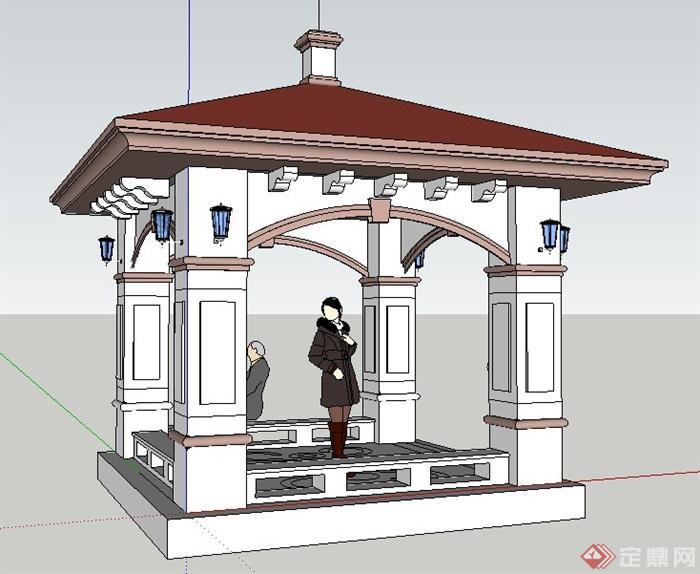 欧式风格方形亭子设计su模型