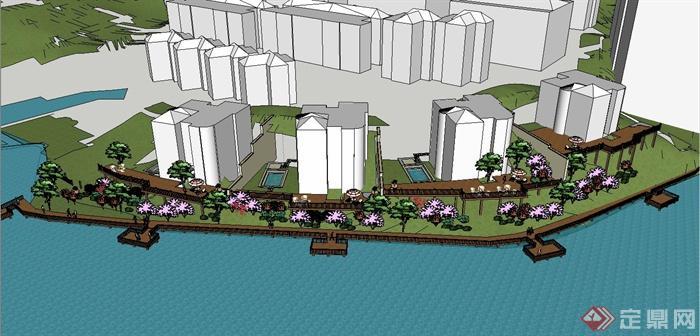 某滨水住宅景观木栈道与亲水平台设计su模型