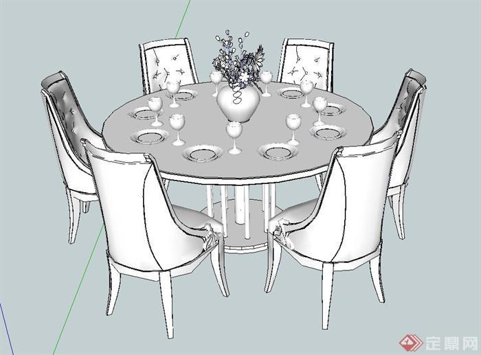 某六人欧式风格餐桌椅设计su模型(1)