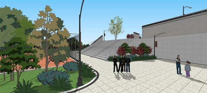 某现代村民休闲广场景观设计su模型