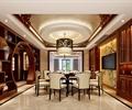 餐厅,餐桌椅,隔断柜,月亮门,吊灯,电视,背景墙