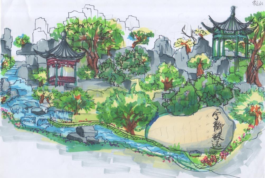 古典园林部分手绘效果图