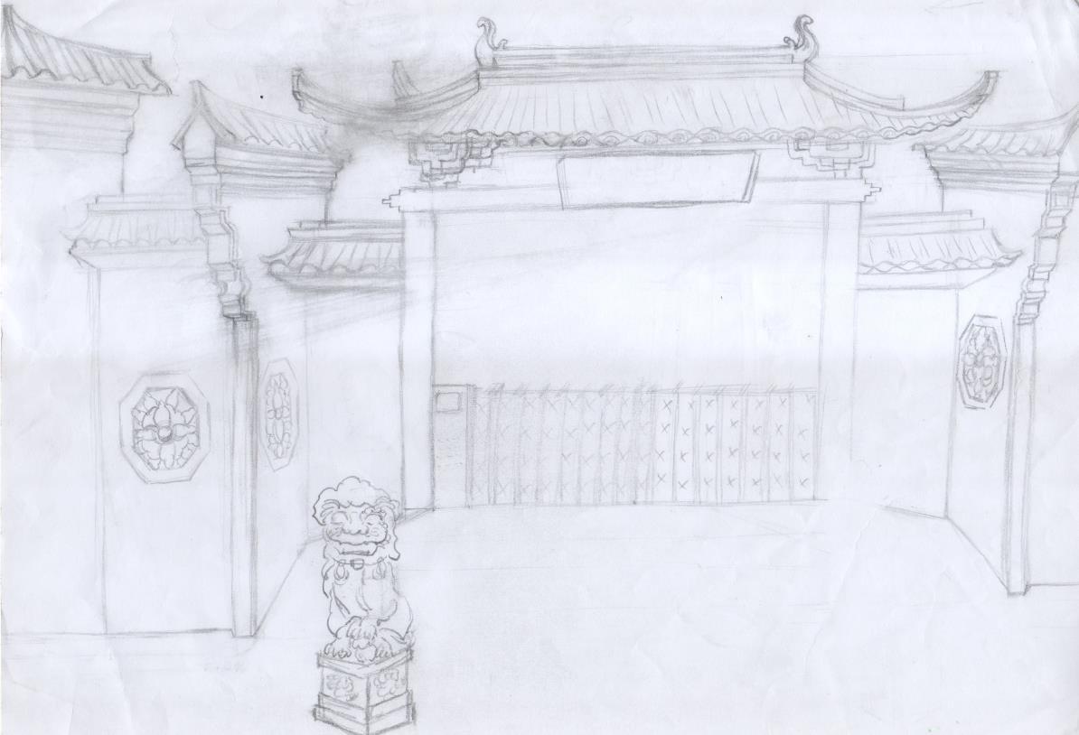 古典园林手绘-梁策