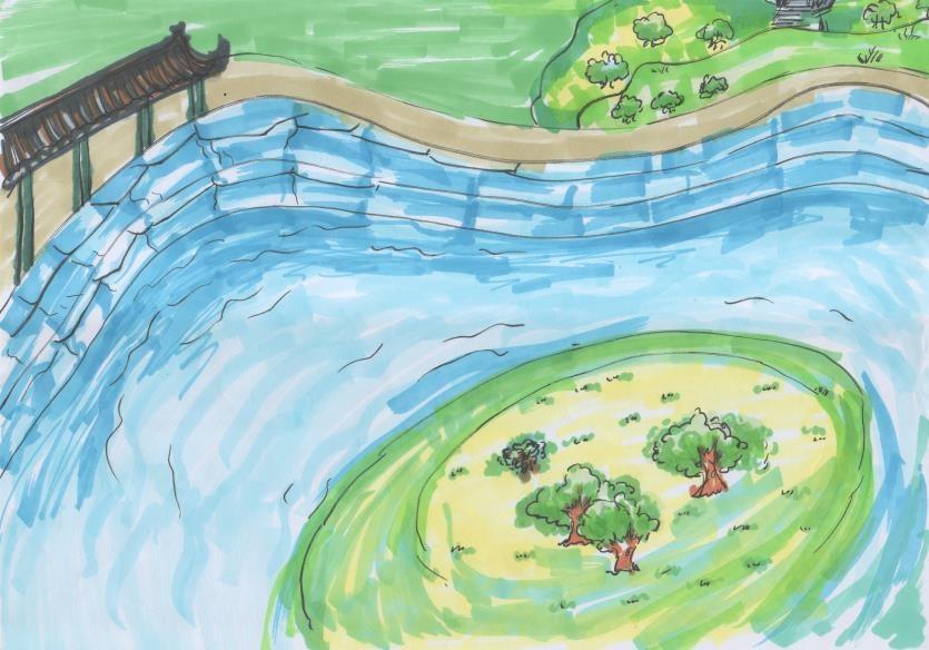 古典园林水景部分手绘效果图