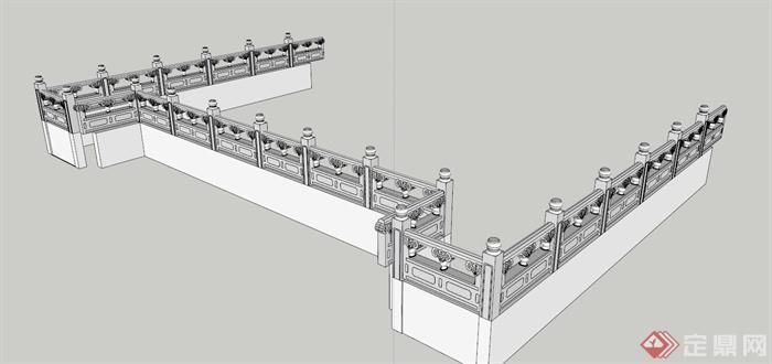 > 大理石栏杆设计su白模,简洁模型,无材质,中式风格纹理,具有一定的图片
