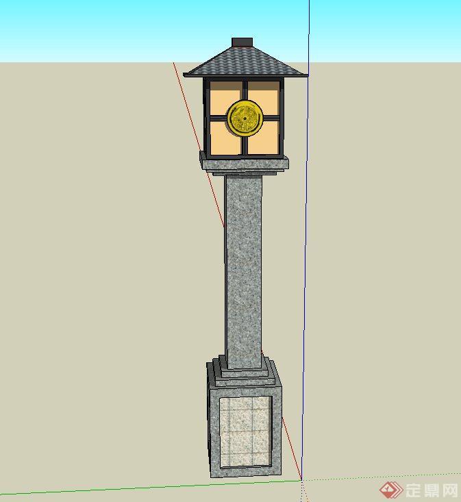 园林景观节点古典中式石灯设计su模型(1)