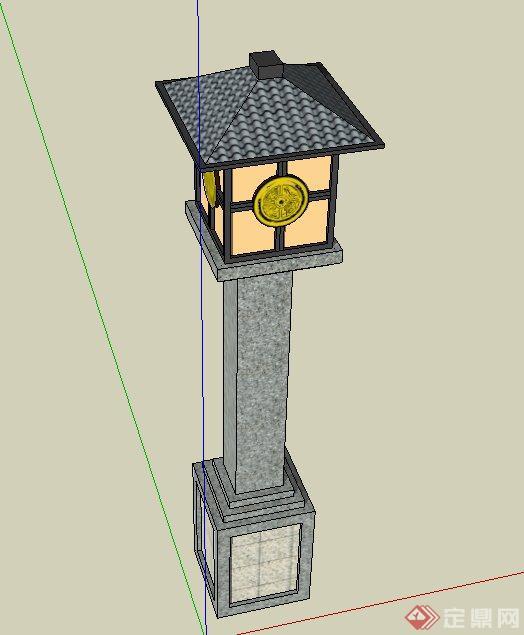 园林景观节点古典中式石灯设计su模型(2)