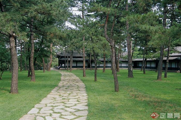 承德避暑山庄园林景观设计图-园路地面铺装草坪常绿古