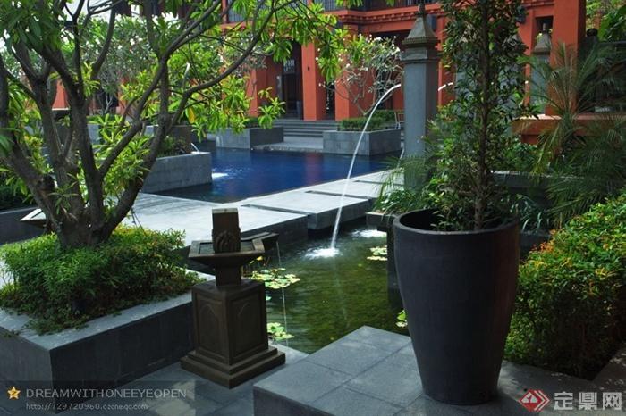 泰式酒店景观设计图-花钵石台阶树池水池景观-设计师
